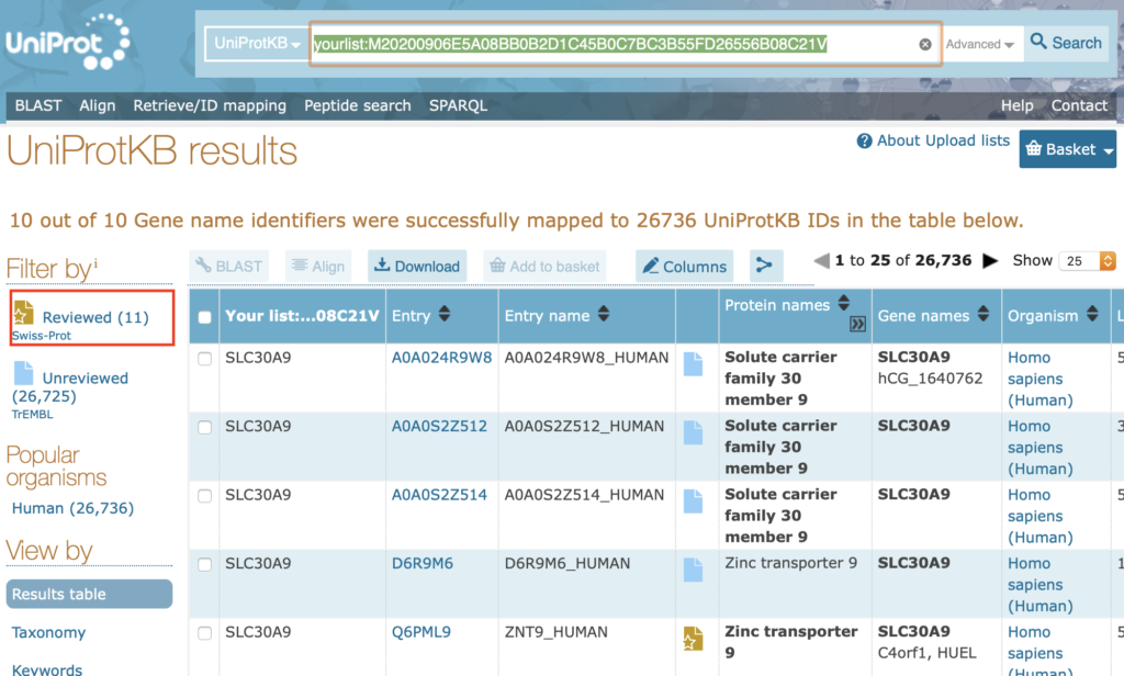 uniprot-results